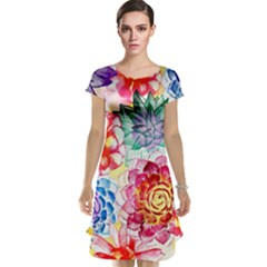 Colorful Succulents Cap Sleeve Nightdress