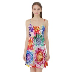 Colorful Succulents Satin Night Slip