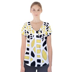 Yellow Decor Short Sleeve Front Detail Top
