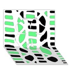 Light green decor Clover 3D Greeting Card (7x5)