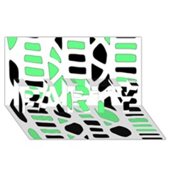Light green decor PARTY 3D Greeting Card (8x4)