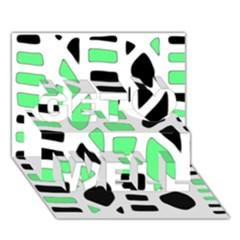 Light green decor Get Well 3D Greeting Card (7x5)