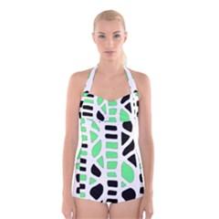 Light green decor Boyleg Halter Swimsuit
