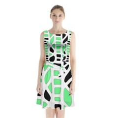 Light green decor Sleeveless Chiffon Waist Tie Dress