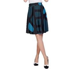 Deep blue decor A-Line Skirt