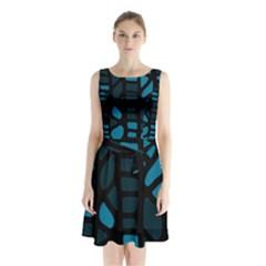 Deep blue decor Sleeveless Chiffon Waist Tie Dress