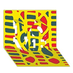 Yellow, green and red decor LOVE 3D Greeting Card (7x5)