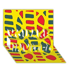 Yellow, green and red decor YOU ARE INVITED 3D Greeting Card (7x5)