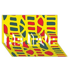 Yellow, green and red decor BELIEVE 3D Greeting Card (8x4)