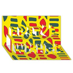 Yellow, green and red decor Best Wish 3D Greeting Card (8x4)