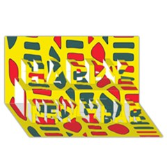 Yellow, green and red decor Happy New Year 3D Greeting Card (8x4)
