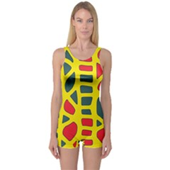 Yellow, green and red decor One Piece Boyleg Swimsuit