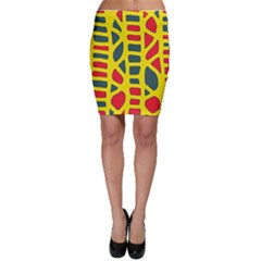 Yellow, green and red decor Bodycon Skirt