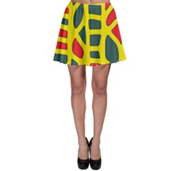 Yellow, green and red decor Skater Skirt