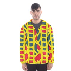 Yellow, green and red decor Hooded Wind Breaker (Men)