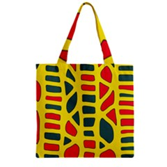 Yellow, green and red decor Zipper Grocery Tote Bag