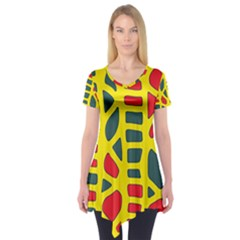 Yellow, green and red decor Short Sleeve Tunic