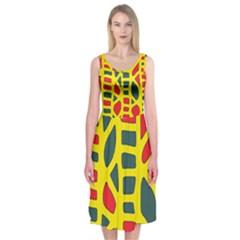 Yellow, green and red decor Midi Sleeveless Dress