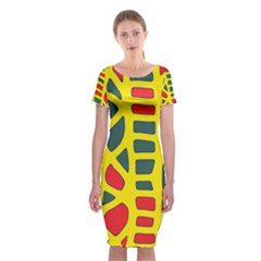 Yellow, Green And Red Decor Classic Short Sleeve Midi Dress