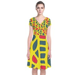 Yellow, green and red decor Short Sleeve Front Wrap Dress