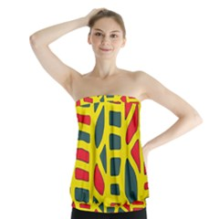 Yellow, Green And Red Decor Strapless Top