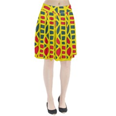 Yellow, green and red decor Pleated Skirt