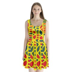 Yellow, green and red decor Split Back Mini Dress