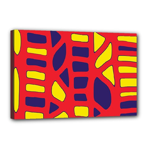 Red, yellow and blue decor Canvas 18  x 12