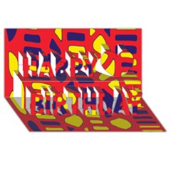 Red, Yellow And Blue Decor Happy Birthday 3d Greeting Card (8x4)