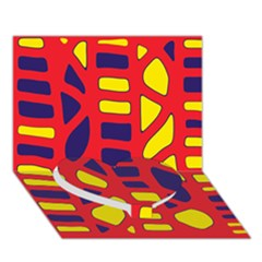 Red, yellow and blue decor Heart Bottom 3D Greeting Card (7x5)