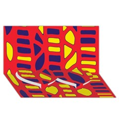 Red, yellow and blue decor Twin Heart Bottom 3D Greeting Card (8x4)