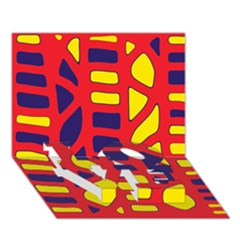 Red, yellow and blue decor LOVE Bottom 3D Greeting Card (7x5)