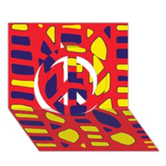 Red, yellow and blue decor Peace Sign 3D Greeting Card (7x5)