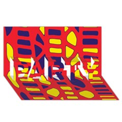 Red, yellow and blue decor PARTY 3D Greeting Card (8x4)