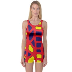 Red, yellow and blue decor One Piece Boyleg Swimsuit