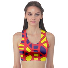 Red, yellow and blue decor Sports Bra