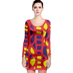 Red, yellow and blue decor Long Sleeve Bodycon Dress
