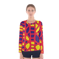 Red, yellow and blue decor Women s Long Sleeve Tee