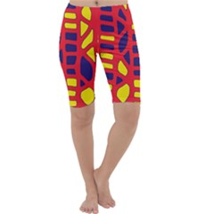 Red, yellow and blue decor Cropped Leggings