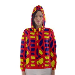 Red, yellow and blue decor Hooded Wind Breaker (Women)