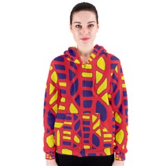 Red, yellow and blue decor Women s Zipper Hoodie