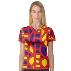 Red, yellow and blue decor Women s V-Neck Sport Mesh Tee
