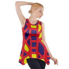 Red, Yellow And Blue Decor Side Drop Tank Tunic