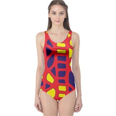 Red, yellow and blue decor One Piece Swimsuit