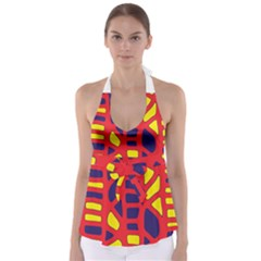 Red, yellow and blue decor Babydoll Tankini Top