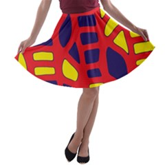 Red, yellow and blue decor A-line Skater Skirt