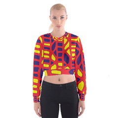 Red, yellow and blue decor Women s Cropped Sweatshirt