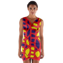 Red, yellow and blue decor Wrap Front Bodycon Dress