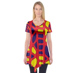 Red, Yellow And Blue Decor Short Sleeve Tunic