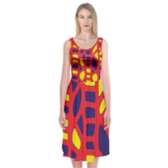 Red, yellow and blue decor Midi Sleeveless Dress